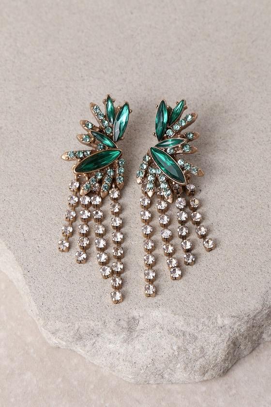 Glimmering Isle Gold and Green Rhinestone Earrings 2