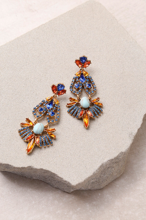 Color Me Rococo Gold and Blue Rhinestone Earrings 2