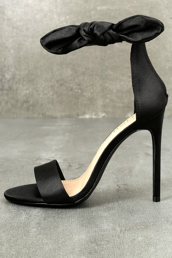 Xia Black Satin Ankle Strap Heels 1