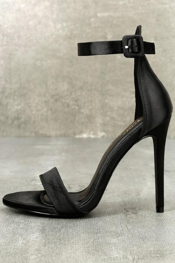 Charlize Black Satin Ankle Strap Heels 1
