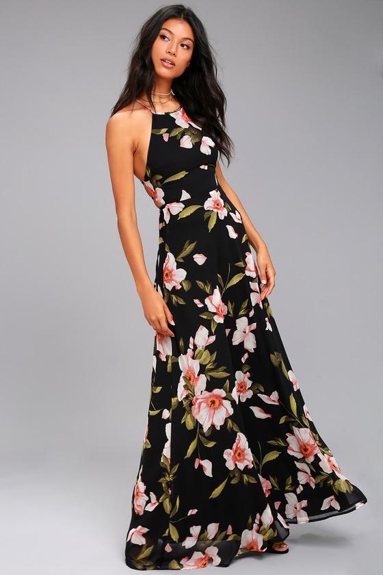 a3f9ce04a899 Lovely Black Floral Print Dress - Maxi Dress - Lace-Up Dress