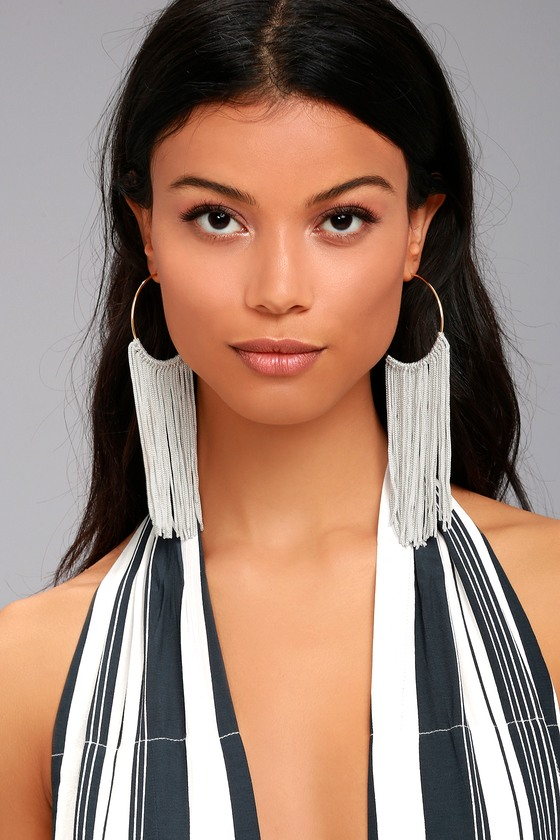 Wings of the Wind Gold and Grey Fringe Earrings 1