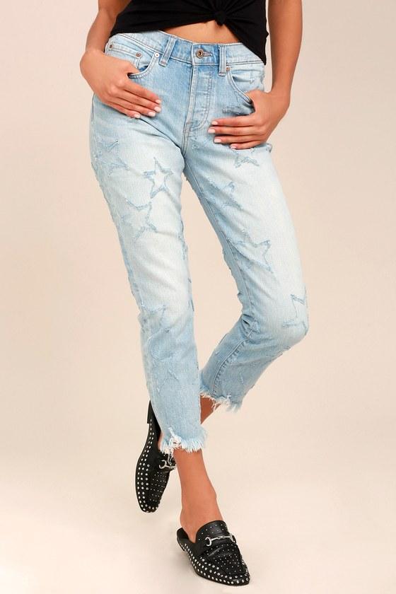 Seeing Stars Light Wash Distressed Skinny Jeans 2