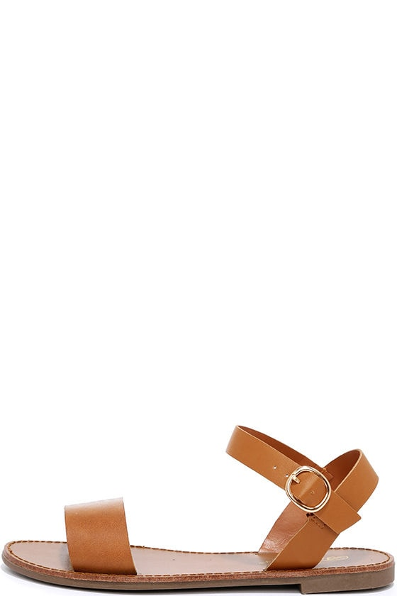 Hearts and Hashtags Tan Flat Sandals 1