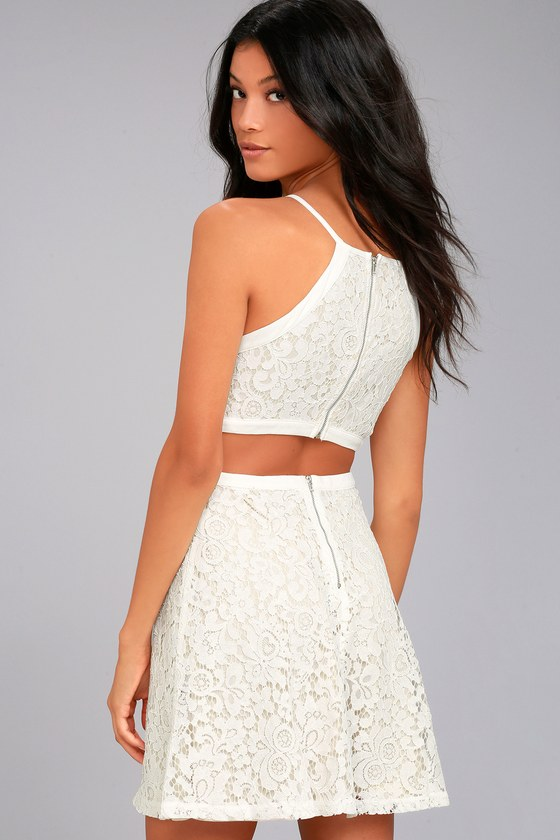 Defying Gravity White Lace Skater Dress 1