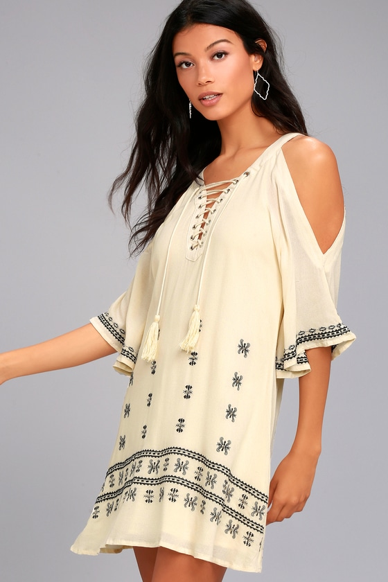 To the Sea Light Beige Embroidered Cold Shoulder Dress 3