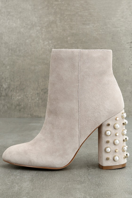 d7afe244437 Steve Madden Yvette Taupe Suede Leather Studded Booties