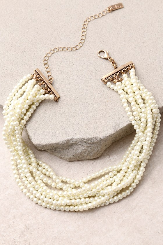 Get Glam Gold and Pearl Choker Necklace 2