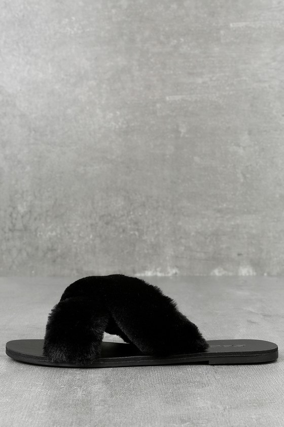 Ramona Black Faux Fur Slide Sandals 1