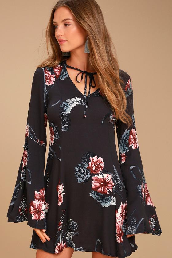 Somedays Lovin' Homecoming Washed Black Floral Print Dress 1