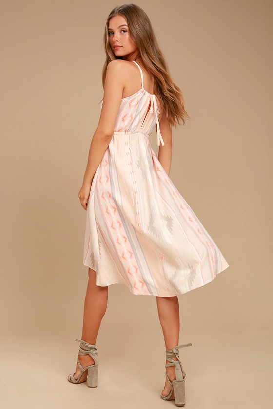 O'Neill Uli Blush Pink Print Midi Dress 3