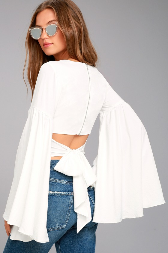 8bb99e849da72 Stunning White Top - Bell Sleeve Top - Crop Top