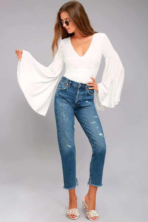 8219a781adc46c Stunning White Top - Bell Sleeve Top - Crop Top