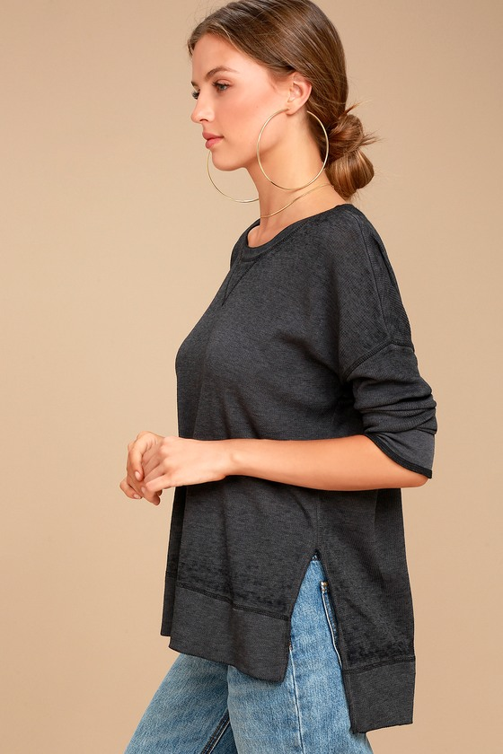 Emerson Washed Black Long Sleeve Top 3