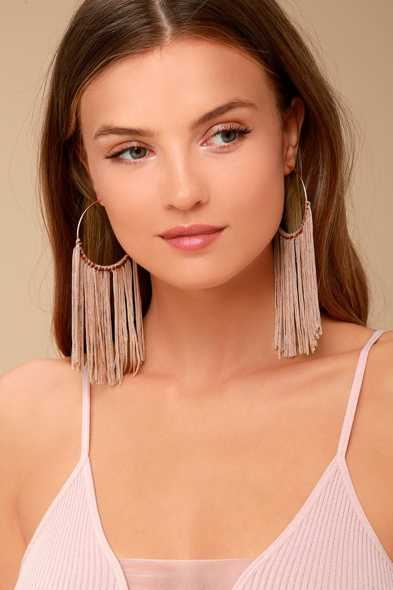 Wings of the Wind Gold and Beige Fringe Earrings 1