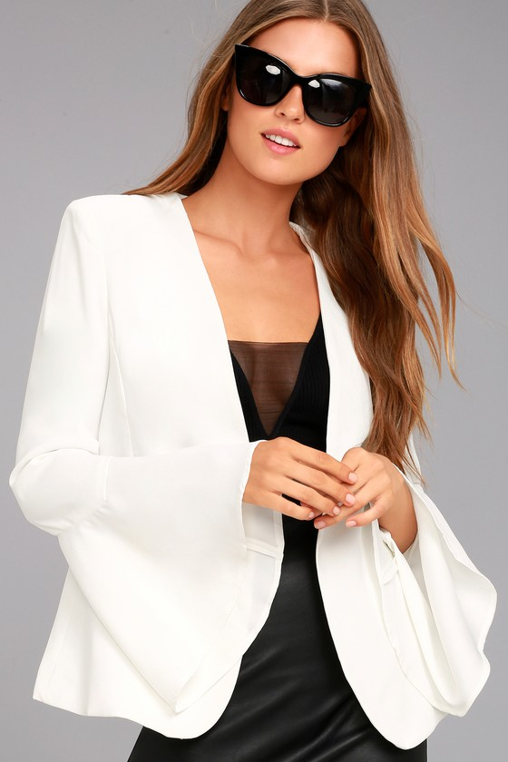 Night Visions White Cropped Blazer 1