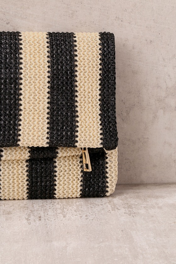 chic black and beige clutch striped clutch woven clutch. Black Bedroom Furniture Sets. Home Design Ideas