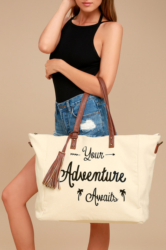 Adventure Ahead Tan and Cream Weekender 3