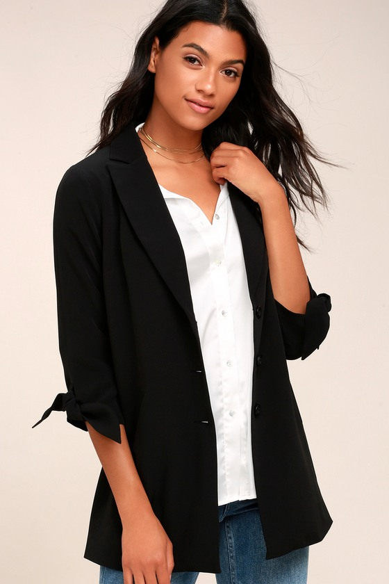 Charm and Grace Black Tie Sleeve Blazer 1