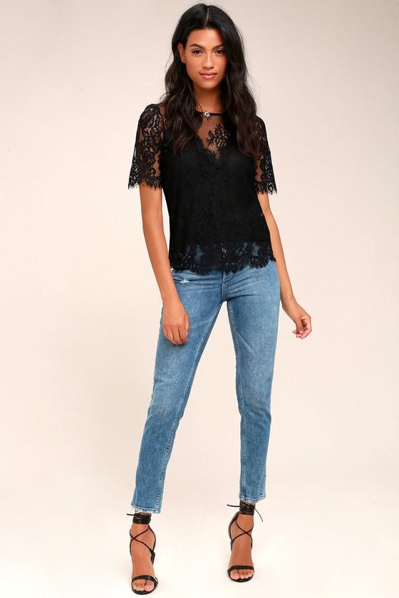c00e30d2b351 Chic Black Top - Lace Top - Short Sleeve Top