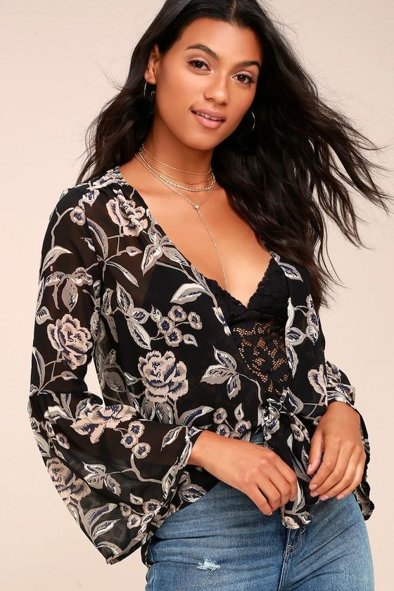 43b4af2c57 Black Floral Print Top - Tie-Front Top - Bell Sleeve Top