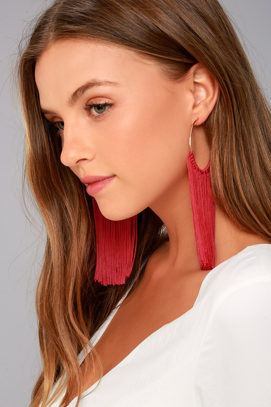 Wings of the Wind Gold and Red Fringe Earrings 3