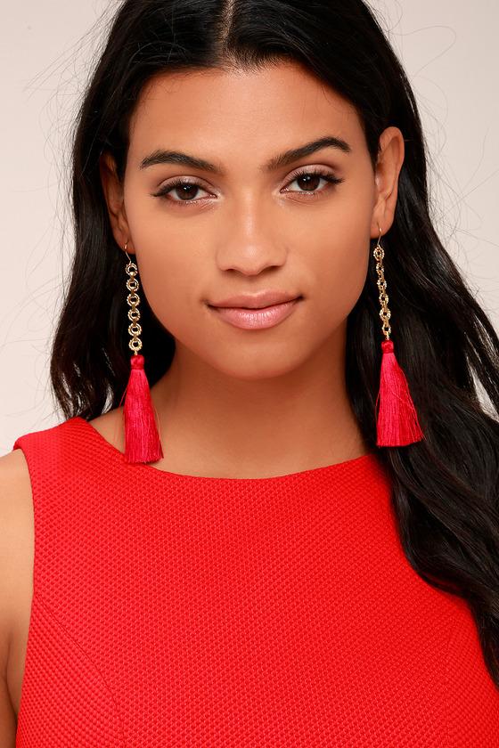 Vanessa Mooney Isla Red Silk Tassel Earrings 3