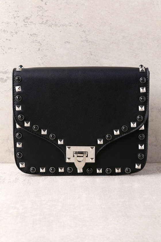 ab65a3a13 Chic Black Purse - Black Vegan Purse - Studded Purse