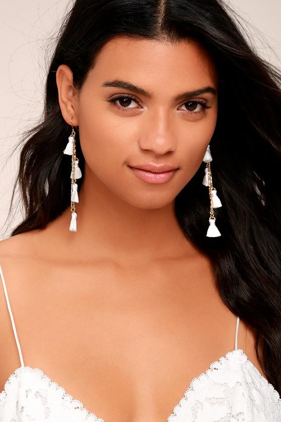 Vanessa Mooney Dynasty White Tassel Earrings 1