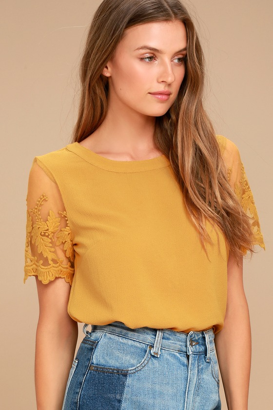 1277248b31 Chic Mustard Yellow Top - Embroidered Top - Short Sleeve Top