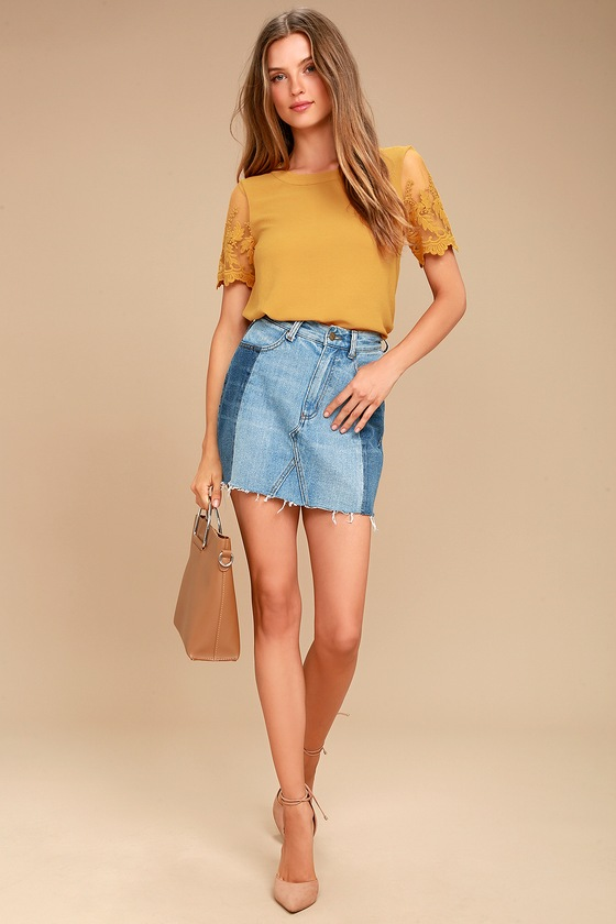 2599678f5e4c9f Chic Mustard Yellow Top - Embroidered Top - Short Sleeve Top