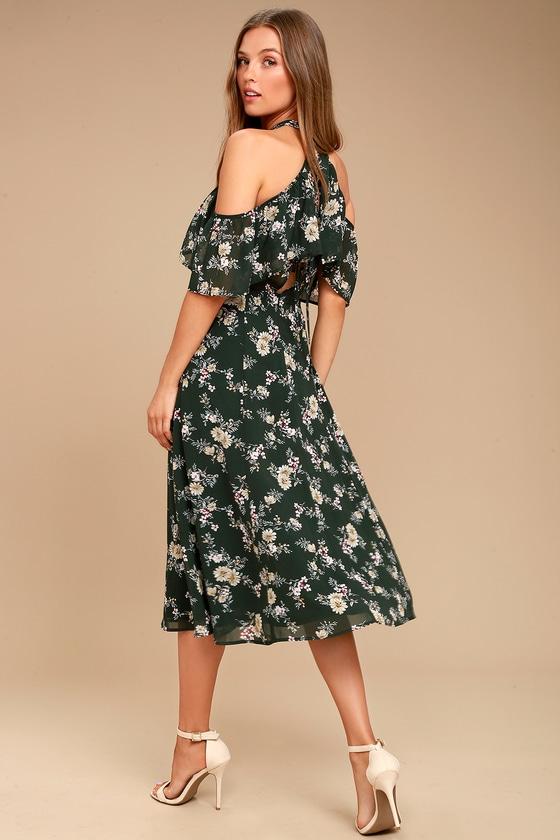 2679dc310274 Chic Floral Midi Dress - Cold Shoulder Dress - Halter Midi