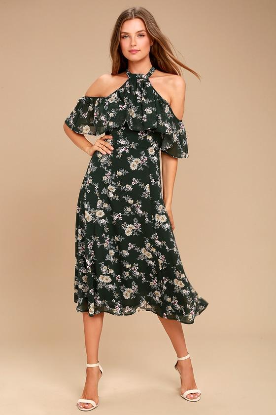 6a597f703da Chic Floral Midi Dress - Cold Shoulder Dress - Halter Midi