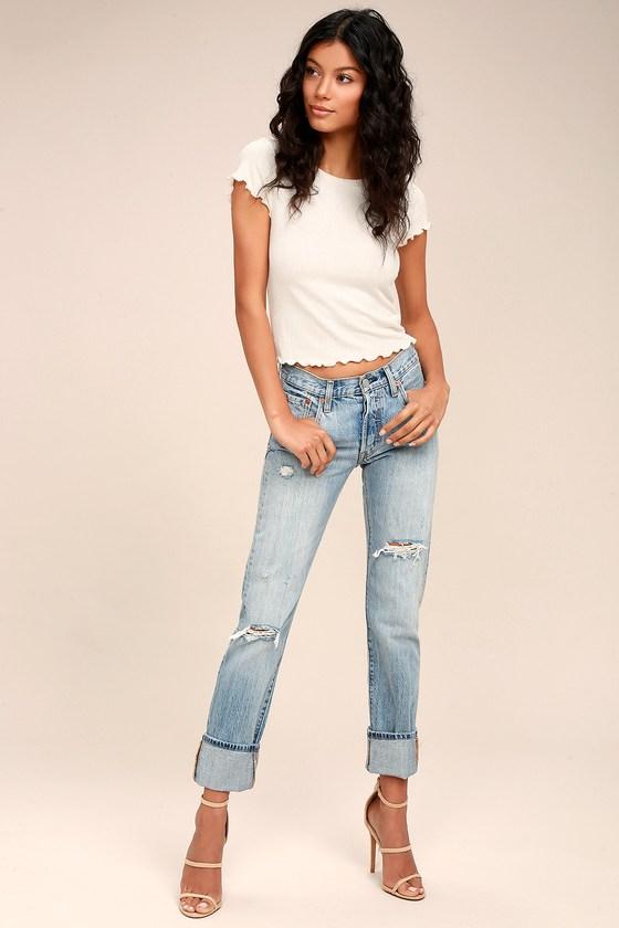 Levi's 501 Light Wash Distressed Jeans 5