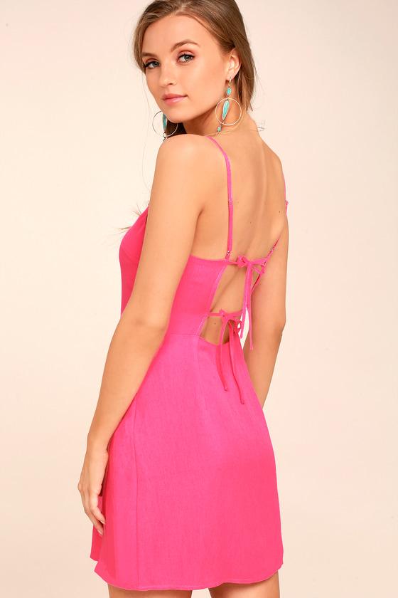 Cute Fuchsia Dress - Mini Dress - Open Back Dress
