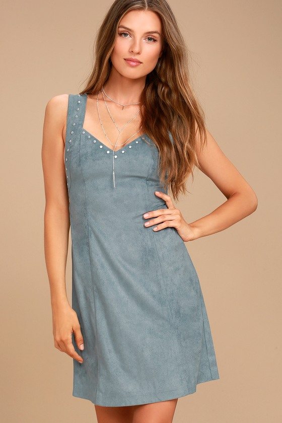 Somedays Lovin' Slate Sky Dusty Blue Suede Mini Dress 4