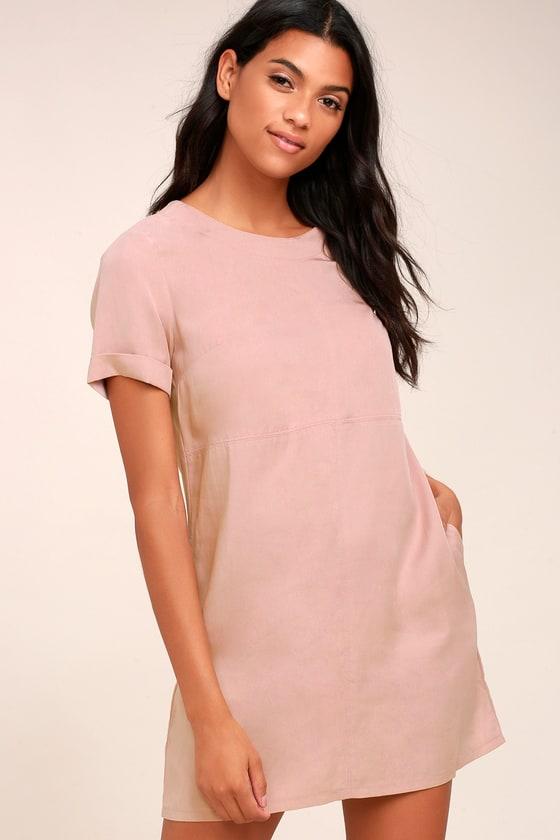 Cute Shift Dress - Causal Dress - Mauve Pink Dress
