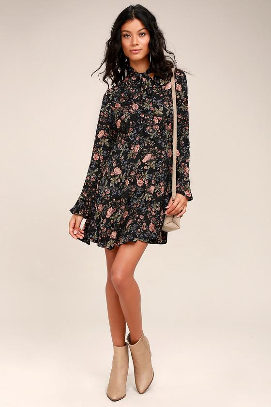 3affa6187f7 Picturesque Piece Black Floral Long Sleeve Tie-Neck Dress