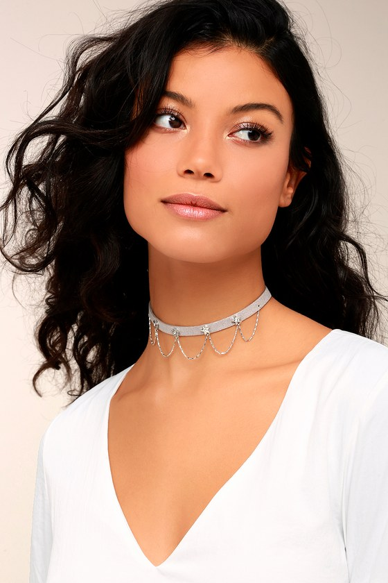 Shimmering Skyline Grey and Silver Choker Necklace 1