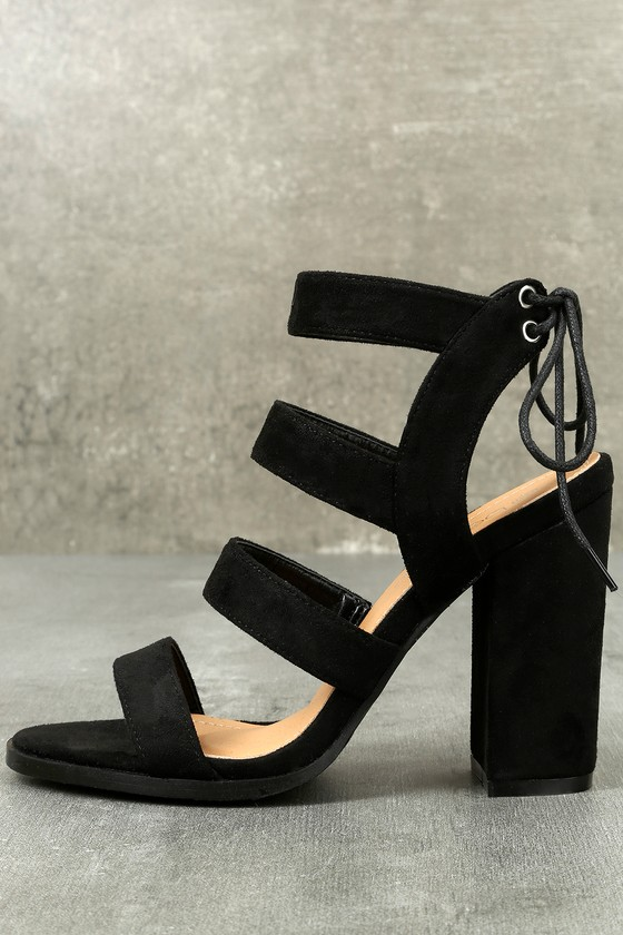 Sydney Black Suede High Heel Sandals 1