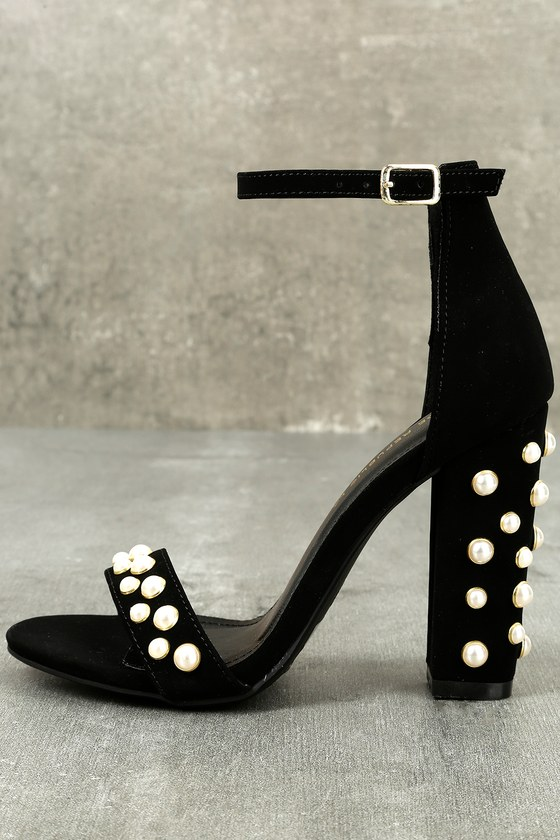 Lenore Black Nubuck Pearl Ankle Strap Heels 1
