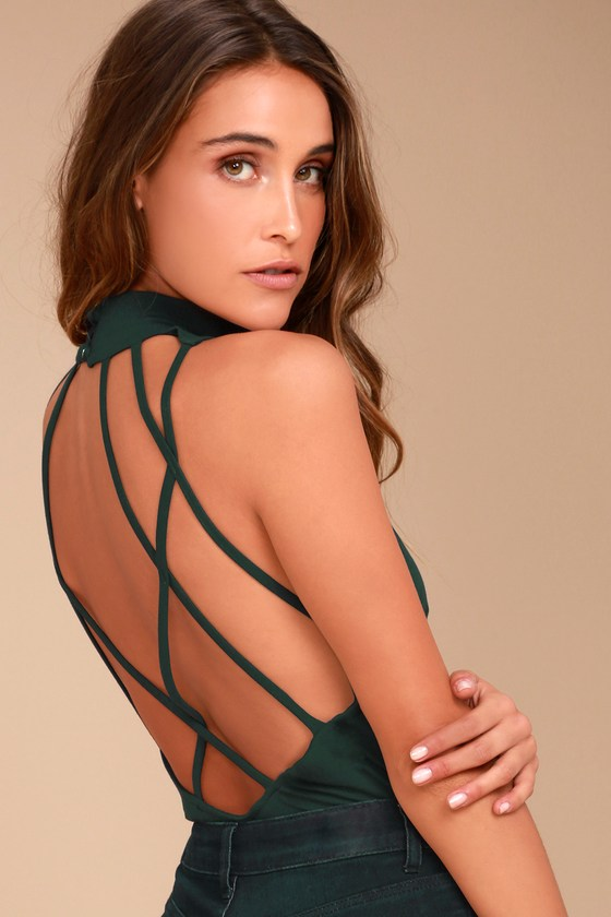 History of Time Forest Green Backless Bodysuit 5