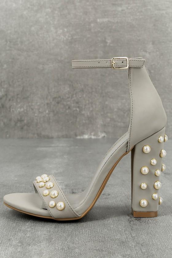 Lenore Grey Nubuck Pearl Ankle Strap Heels 1