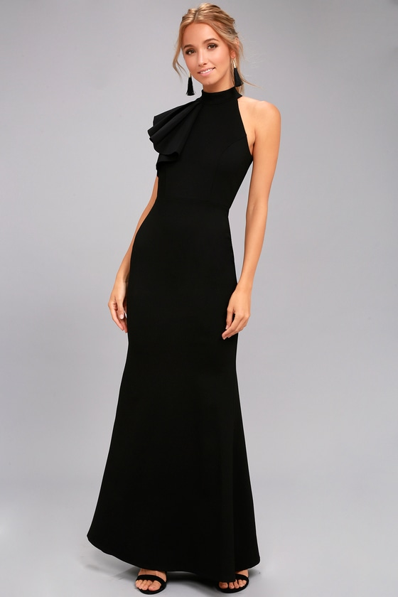 Margaux Black One-Shoulder Maxi Dress 1
