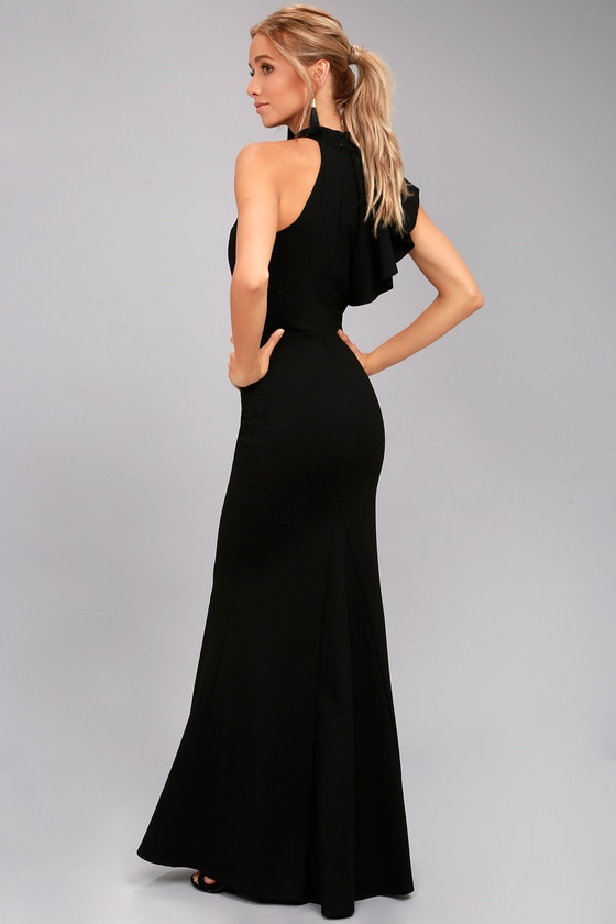 Chic Black Maxi Dress One Shoulder Maxi Dress