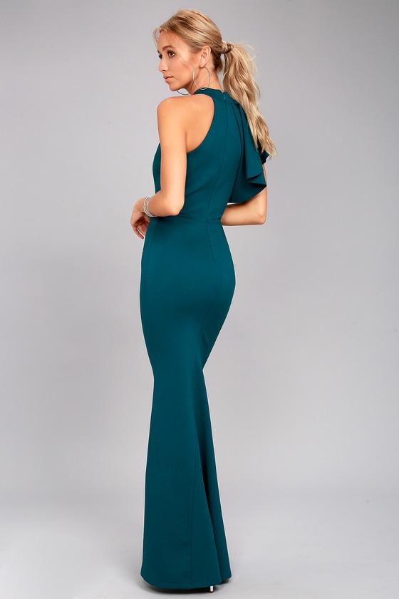 17e93953b709 Chic Teal Blue Maxi Dress - One-Shoulder Maxi Dress