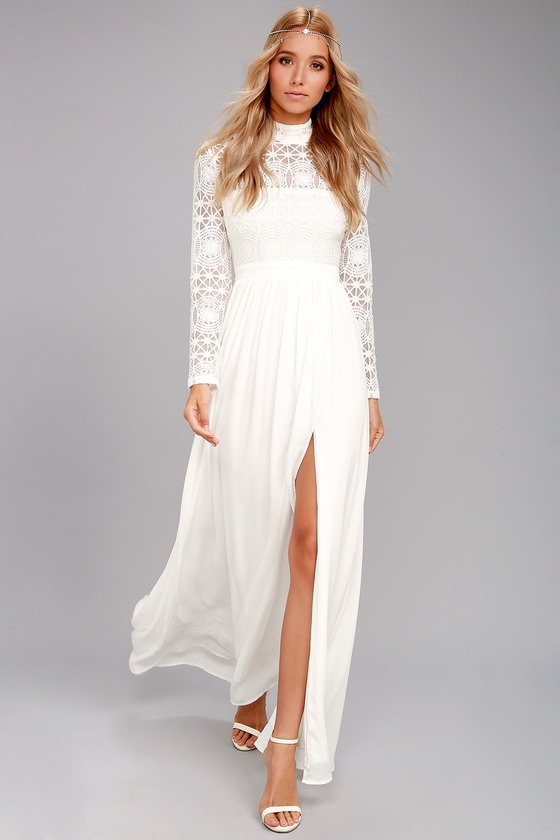 In Dreams White Long Sleeve Lace Maxi Dress 2