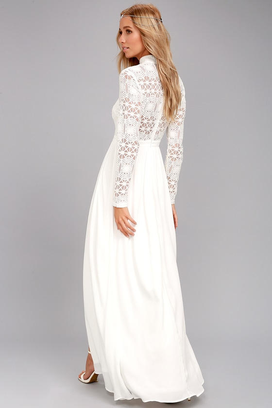 Ivory Lace Dress with Sleeves