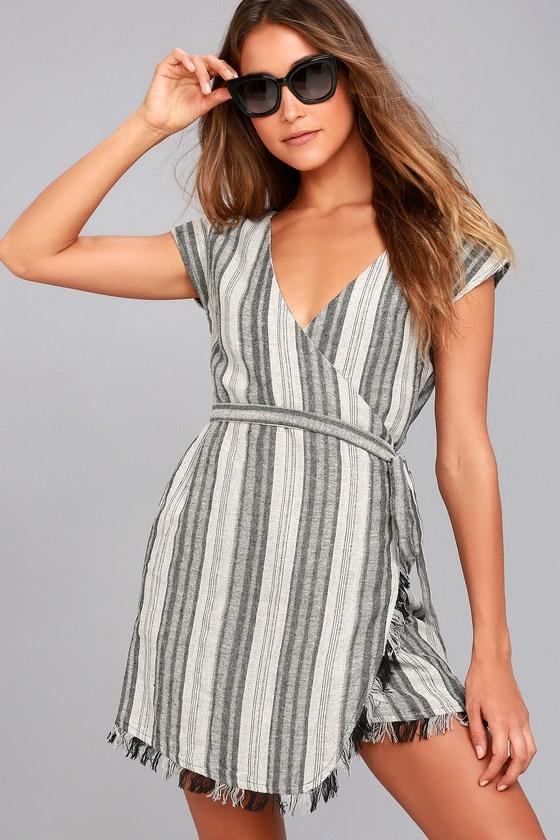 Island Retreat Grey Striped Wrap Dress 4