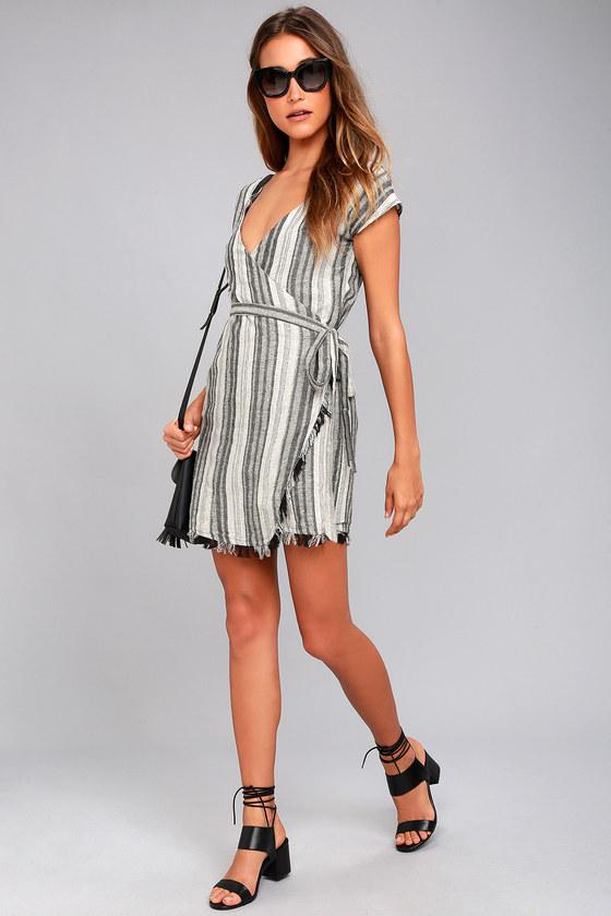 Cool Grey Striped Dress - Wrap Dress - Sleeveless Dress 40436a56c